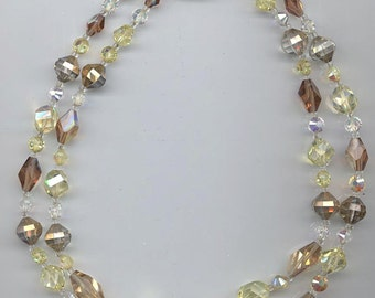 Beautiful 2-stranded vintage Vendome necklace - rare Swarovski crystals in pale yellow and light brown