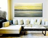 CUSTOM for MIYOKO Abstract Painting Yellow Grey Acrylic Modern Textured Urban Horizon Gold White Horizon Coastal Wall Decor 72x36- Christine