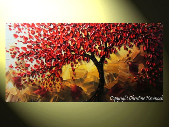 "Original Art Abstract Painting Red Tree of Life Textured Fall Modern Palette Knife Home Wall Decor Blue Brown Gold Large 24x48"" -Christine"