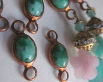 Vintage Jade Green Glass  And Brass Connector Beads