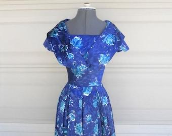 Vintage Blue Floral Dress . Blue Turquoise Party Dress . Bridesmaid XXS, XS  22 waist