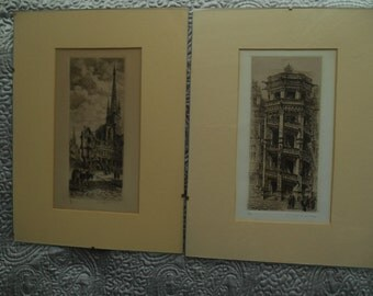 Pair of Dallemagne etchings Rouen cathedral and Chateau Royal de Blois 1900s signed in pencil