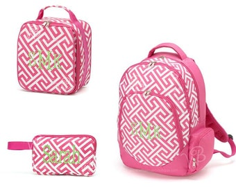 Personalized Monogrammed Embroidered 3 Piece Back To School Pink Greek Backpack, Pencil Case, &  Lunch Tote Personalized, Embroidered