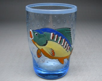 FISH GLASS hand painted / enamelled fiesta colors unusual !!! controlled bubbles