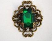 Vintage Style Emerald Glass Cabochon in Brass Wrap Filigree Charm Pendant 37x30mm.