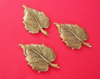 Leaf Embellishment  Antiqued Brass Ox  Brass  Stamping Pendant .(4)