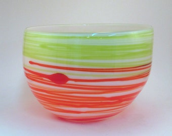 Orange and Green Abstract Wrap Bowl