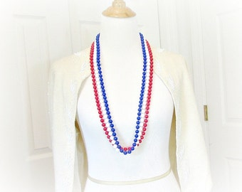 Vintage LONG Chunky Beaded Necklace / Belt, Patriotic Red White and Blue Bead Necklace, Memorial Day, 4th of July, 1960s Vintage Jewelry