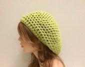 Crochet Beret Hat -  LIME