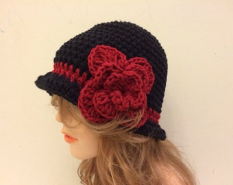 Crochet Cloche Flapper Hat - BLACK / CLARET