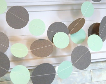 Gray and mint Bridal shower decorations - 10ft Mint and Gray Wedding Circle Garland - Gender Neutral Baby Shower decor - your color choice
