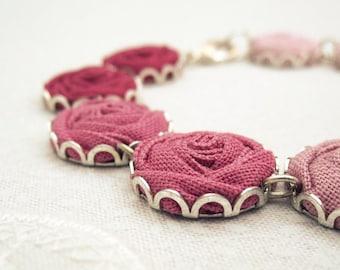 Romantic Rose Bracelet - Vintage Flowers in Blush, Blossom, Camellia & Pastel Pink - Love
