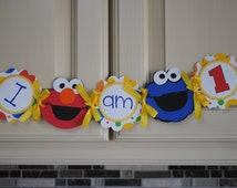Elmo and Cookie Monster - I Am One High Chair Banner