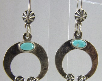 Old Style Sterling Silver Naja Earrings w/ Blue Moon turquoise cabs