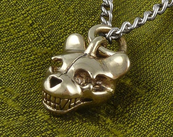 "Teddy Bear Necklace - Bronze Teddy Bear Skull Pendant on 24"" Gunmetal Chain"