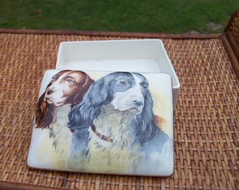 Empire England Porcelain Box Cards Jewelry Or Decor Beloved Setters Canine Motif Dog Lover