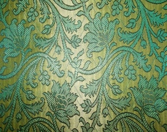 Fat quarter of  Beige and blue Indian silk brocade fabric with a regal pattern