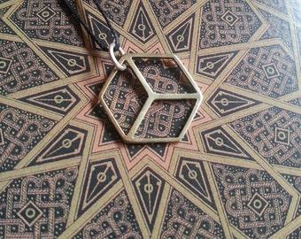 Platonic Solid Pendant - Cube - Brass Symbols range - Geometry - Handcrafted