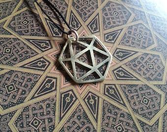 Platonic Solid Pendant - Icosahedron - Brass Symbols range - Geometry - Handcrafted
