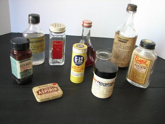 11 Vintage Bottles Apothecary Misc. Pharmacy Medicine