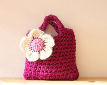 Little Girl Little Purse in Magenta with big flower - Listing37