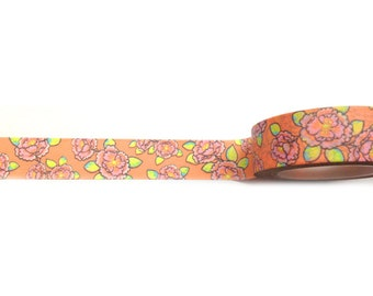 SALE Orange Floral Pink and Green Flowers Washi Tape 11 yards 10 meters 15mm Pink Flowers