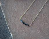 Black Diamond Necklace, Delicate Gold Chain, Conflict Free Rough Diamonds