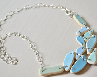 Greek beach Pottery Bib Necklace