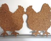 Cork Trivet - Smooching Hens