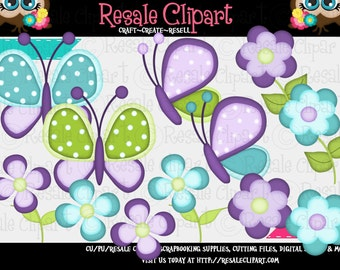 Springtime Butterfly Blue and Purple Clipart (Digital Zip Download)
