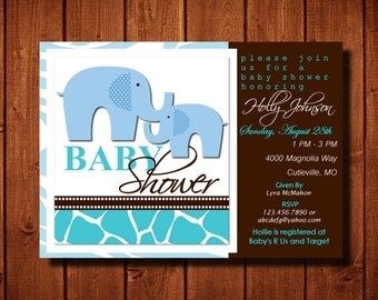 Wild Safari Baby Boy Shower Invitation Elephants Zebra Print Giraffe Print Digital File or Add Prints Front and Back
