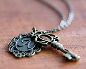 Filigree Letter Initial Key Necklace Skeleton Key Charm Personalized Necklace Vintage Inspired Key Jewelry - N289