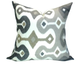 Schumacher Darya Ikat pillow cover in Stone - ON BOTH SIDES