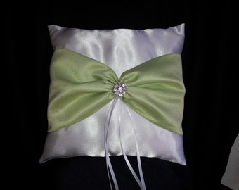 White Lime Green Glitter Square Satin Ring Bearer Pillow Bow Rhinestones Wedding Bridal