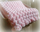 Pink and White Crochet Baby Blanket with Ruffles Thick & Cushy Girl