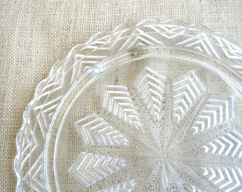 Glass Cake Plate, Wedding Decor, Perfume Stand, Chevron Design, Vintage Pressed Glass