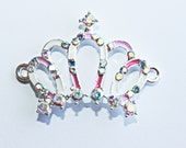 SALE Girly Enamel and Rhinestone Your Majesty Tiara Bracelet Connector Pendant Silver  20mm x 32mm