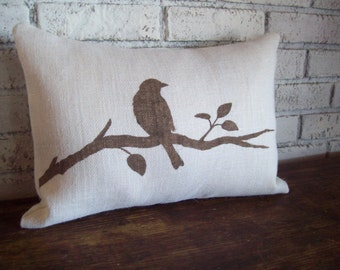 Bird on a Branch Decorative Pillow Cover - 12 x 18 - Bird Pillow - Burlap Pillow - Choice of Colors - Cottage Pillow - Country Decor - Bird