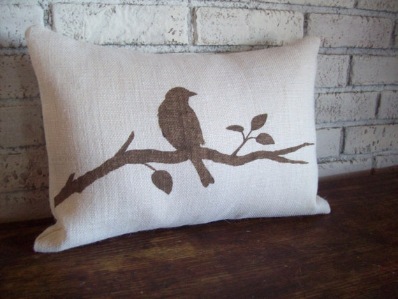 Newport Throw Pillows Birds : Bird Pillow Cover Bird on a Branch Decorative Pillow 12 x