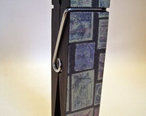 Postage Stamps Clothespin Jumbo Decoupaged