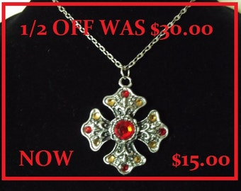 Silver Pendant Necklace,   Biker Maltese Cross With Rhinestones,  Mens  Womens Gift  Handmade