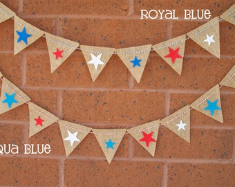 SALE Patriotic Red, White and Blue Burlap Bunting