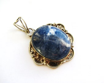 Sodalite Pendant, Denim Blue Gemstone Pendant, Antique Silver Setting & Bail, DIY Necklace, Boho Jewelry, Rustic Style Friend Gift
