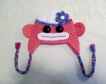 READY TO SHIP - 3 to 6 Month Size - Pink Sock Monkey Crochet Winter Hat or Photo Prop