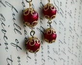 bright Red Earrings, Red dangle earrings, Red and Gold Earrings