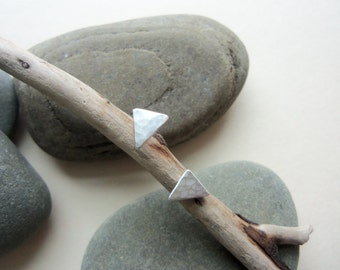 Sterling Silver Triangle Earrings, Small Triangular Studs