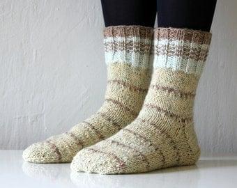 Size US woman's 8.5 (or EU 39), Warm hand knit wool socks