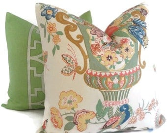 Schumacher Lansdale Floral Decorative Pillow Covers Made to order, 18x18, 20x20, 22x22 or lumbar pillow.