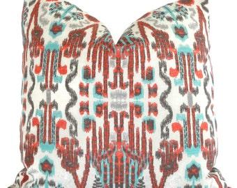 Orange Turquoise Taupe Ikat Decorative Pillow Cover, 18x18, 20x20, 22x22 or lumbar pillow Throw Pillow, Accent Pillow, Toss Pillow