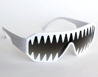Rasslor Mini Shark Teeth on White Shield Sunglasses